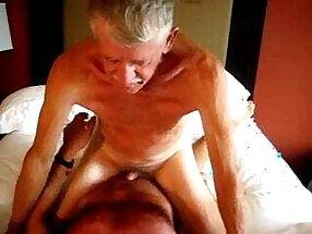 Handsome grandpa enjoy tick cock in his ass
