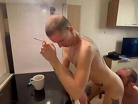 Licked ass and fucked hard while smoking