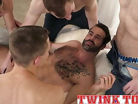 Twink orgy with hot hairy muscle daddy-TWINKTOP.NET