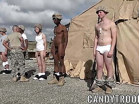 Military morning drill includes bareback sex and blowjobs