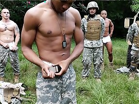 Horny soldiers training before their gangbang