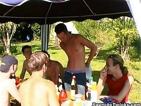 Pretty Gay Twinks Group Garden Fucking